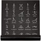 NewMe Fitness Instructional Yoga Mat, Black, Printed w/ 70 Illustrated Poses, 24' Wide x 68' Long,...