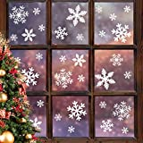 LUDILO 135Pcs Christmas Window Clings Snowflakes Window Decals Static Window Stickers for Christmas...