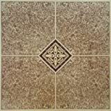 Home Dynamix Vinyl Tile, 12 by 12-Inch, Brown, Box of 30