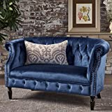 Great Deal Furniture 302215 Melaina Navy Blue Tufted Rolled Arm Velvet Chesterfield Loveseat Couch