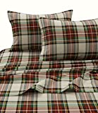 Tribeca Living CHAR170SHEETFU Charleston Plaid Flannel Deep Pocket Sheet Set, Full,