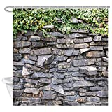 DYNH Stone Brick Wall Shower Curtain, Ivy Green Leaves Climbing on Rustic Marble Rocks Stone Wall...