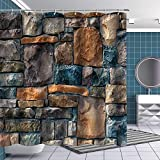 BTTY Stone Wall Shower Curtain with Hooks Polyester Fabric Art Paintings Pictures Shower Curtains...