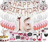 130 PCS 16th Birthday Decorations Party Supplies Sweet 16 Birthday Balloons | Rose Gold Confetti...