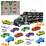iBaseToy Toy Cars, Transport Car Carrier Truck 12 in 1 Educational Vehicles Toy Car Set for Kids...