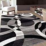 Rugshop Contemporary Modern Circles Abstract Area Rug, 7' 10' x 10' 2', Gray