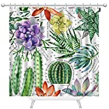 Mugod Hand Drawn Houseplants Shower Curtains Succulents and Cactuses Watercolor Seamless Pattern...