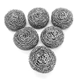 6 Pack Stainless Steel Sponges, Scrubbing Scouring Pad, Steel Wool Scrubber for Kitchens, Bathroom...