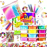 DIY Slime Kit Slime Supplies for Girls Boys Clear Slime for Kids with Glitter Jar Foam Bead and...