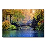 Modern Canvas Painting Wall Art The Picture for Home Decoration Old Bridge Over Blue Lake in Autumn...