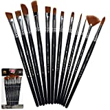 Crafts 4 ALL Paint Brushes 12 Set Professional Paint Brush Round Pointed Tip Nylon Hair Artist...