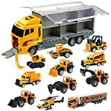 Oumoda 11 in 1 Transport Car, Die-cast Construction Truck Vehicle Car Toy Set Play Vehicles in...
