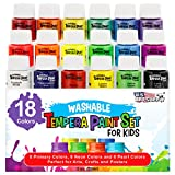 U.S. Art Supply 18 Color Children's Washable Tempera Paint Set - 2 Ounce Wide Mouth Bottles for...