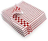 Fecido Classic Kitchen Dish Towels with Hanging Loop - Set of 4, Red