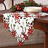 OurWarm Christmas Embroidered Table Runners Poinsettia Holly Leaf Table Linens for Christmas...