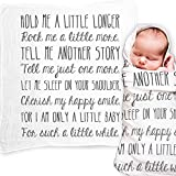 Ocean Drop Designs - White Muslin Swaddle Blankets - Hold Me A Little Longer Quote - for...