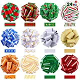 Jeicy 24 Pack Ribbon Pull Bows (5' Wide) Wrapping, Bows, Baskets, Wine Bottles and Holiday...