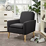 Lohoms Modern Accent Fabric Chair Single Sofa Comfy Upholstered Arm Chair Living Room Furniture Dark...