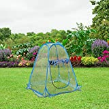 PHI VILLA Outdoor Pop Up Greenhouse-Small Flower Plant Greenhouse 27.5'x 27.5'x 31.49' (Blue)