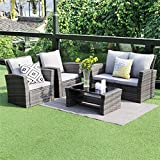 Wisteria Lane 5 Piece Outdoor Patio Furniture Sets, Wicker Ratten Sectional Sofa with Seat...