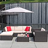 Flamaker 6 Pieces Patio Furniture Set Wicker Sectional Furniture Outdoor Sectional Sofa All-Weather...