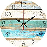 Grazing 12' Vintage Arabic Numerals ,Shabby Beach, Weathered Beachy Boards Design ,Ocean Colors Old...