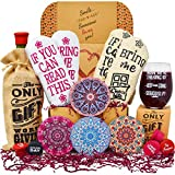 Gift Baskets for Women Best Birthday Gifts For Her: 2 pairs of Funny socks, Funny glass, Coasters,...