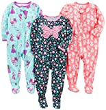 Simple Joys by Carter's Baby Girls' 3-Pack Loose Fit Flame Resistant Polyester Jersey Footed...