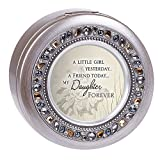 Cottage Garden Friend Today Daughter Forever Brushed Silver Round Jeweled Music Box Plays Tune...