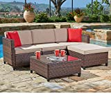 SUNCROWN Outdoor Sectional Sofa (5-Piece Set) All-Weather Brown Checkered Wicker Furniture with...