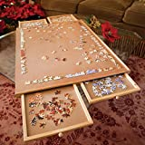 Bits and Pieces - Standard Size Wooden Puzzle Plateau-Smooth Fiberboard Work Surface - Four Sliding...