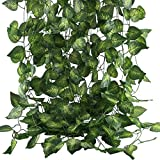 MHMJON Fake Vines, 12 Pack 83 Ft Artificial Hanging Vines Plants Faux Silk Greenery Grape Leaf...