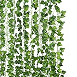 JUNGLE ELF 12 Pack/Per 82 inch Artificial Plant Fake Hanging Vine Ivy Leaves Greenery Garland for...