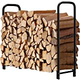 4ft Firewood Rack Outdoor Log Holder for Fireplace Heavy Duty Wood Stacker for Patio Deck Metal...