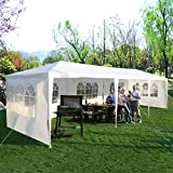 Tangkula 10'x30' Outdoor Canopy Tent Heavy Duty Party Wedding Event Tent Sturdy Steel Frame with 5...