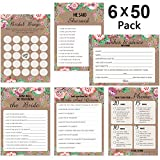 300 Sheet Floral Bridal Shower Bingo Games Cards, POAO Wedding Game Cards Pack and Party Supplies,...