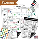 Magnetic Dry Erase Refrigerator Calendar - 17' x 11' - Large Reusable Monthly White Board - Meal...
