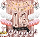 Sllyfo 16th Birthday Decorations Party Supplies Kit - 16th Birthday Gifts for Girls,16th Cake...