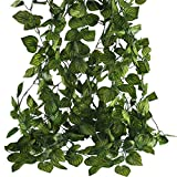 MHMJON 90Ft Artificial Fake Hanging Vines Faux Silk Greenery Watermelon Leaves Garland for Wedding...
