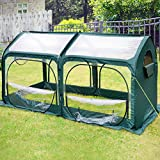 Quictent Pop up Greenhouse Passed SGS Test Eco-Friendly Fiberglass Poles Overlong Cover 6 Stakes 98...