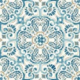 FloorPops FP2477 Fontaine Peel & Stick Tiles Floor Decal, Blue