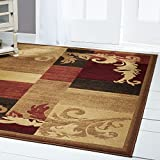 Home Dynamix  Catalina Pierre Contemporary Modern Area Rug, Geometric Brown/Red/Beige 7'10'x10'2'