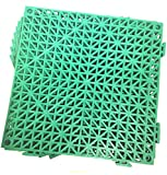 Set of 9 Interlocking GREEN Rubber Floor Tiles- 11.5 inches each side - Non-Slip Tread - Wet Areas...