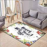 Large Door mat,New Year Rowan Cones Wild Grapes and Arborvitae Branches Composition with Happy Year...