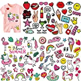 (5 Sheets) Kids Iron On Patches, Akwox Unicorn Holiday Styles Love Kiss Heat Transfer Stickers with...