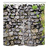 NYMB Natural Wide Stream Shower Curtains, Waterfall Falling from Rustic Stone Brick Wall, Polyester...
