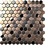 Hexagon Stainless Steel Brushed Mosaic Tile Bronze Copper Color Black Bathroom Shower Floor Tiles...