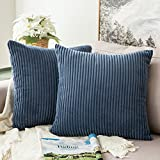 MIULEE Pack of 2, Corduroy Soft Soild Decorative Square Throw Pillow Covers Set Cushion Cases...