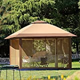 Suntime Outdoor Pop Up Gazebo Canopy with Mosquito Netting and Solar LED Light for Parties and...