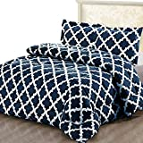 Utopia Bedding Printed Comforter Set (Queen, Navy) with 2 Pillow Shams - Luxurious Brushed...